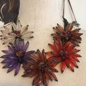 Starburst firework beaded statement necklace